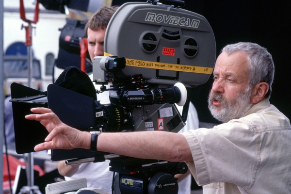 Mike Leigh on the set of Happy-Go-Lucky