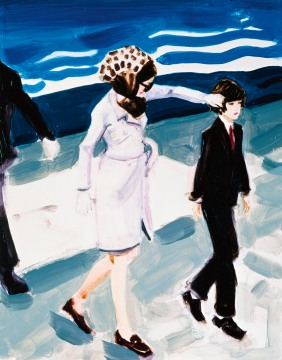 Elizabeth Peyton, Jackie and John (Jackie fixing John's hair) , 1999 Oil on board 14 x 11 in. Collection Mr. and Mrs. Jeffrey R. Winter [Jacqueline Lee Bouvier Kennedy and John F. Kennedy, Jr.]