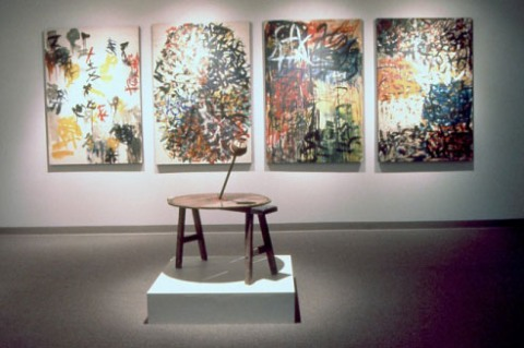 "Huang Yong Ping, <span class=""wac_title"">Four Paintings Created According to Random Instructions</span> and <span class=""wac_title"">Wheel</span>"